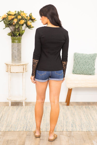It's Your Call Long Sleeve Top in Black - Filly Flair