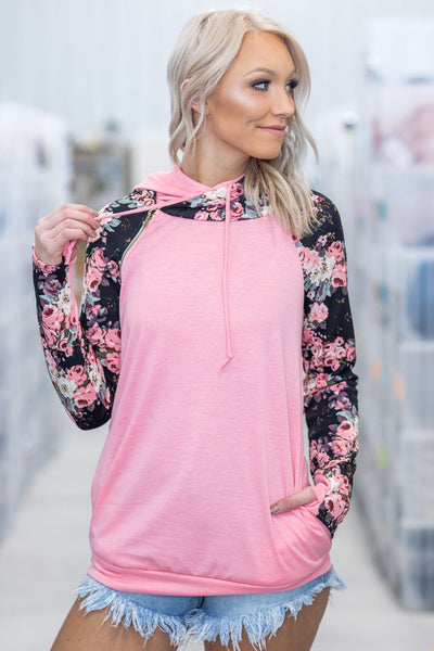 Every Daydream Long Sleeve Double Hooded Floral Top in Pink - Filly Flair