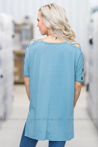 Gotta Be Me Short Criss Cross Sleeve Top in Dusty Blue - Filly Flair