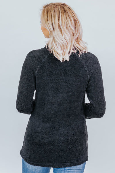 Never A Dull Moment With You Cross Neck Pull Over Sweater in Black - Filly Flair