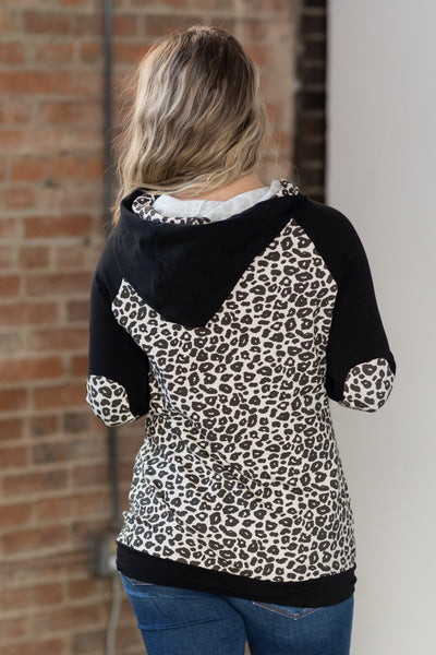 You're The One For Me Animal Print Double Hoodie Top in Black - Filly Flair