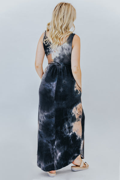 I Know What You're Doing This Summer Tie Dyed Maxi Dress In Black - Filly Flair
