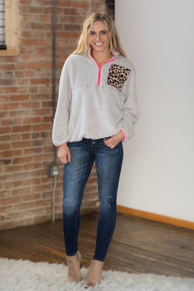 Never Cold 1/4 Zip Animal Print Long Sleeve Pullover in Grey - Filly Flair