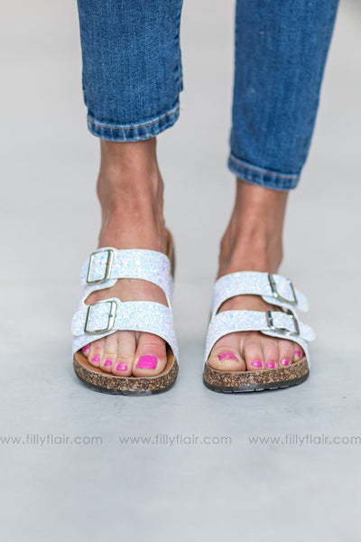 Shining Bright Double Strap Buckle Sandals in White Glitter - Filly Flair