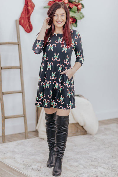 Candy Cane Christmas 3/4 Sleeve Mini Dress in Black - Filly Flair