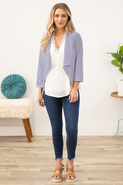 Let's Go Sailing Striped Open Front Top in White