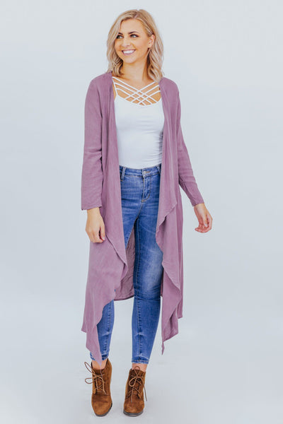 Just Be You Open Front Cardigan in Mauve - Filly Flair