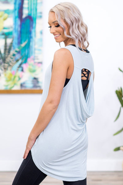 #ST1# Finally Free Draped Back Tank in Light Blue - Filly Flair