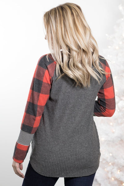 I'm In Love With The Boy Buffalo Plaid Long Sleeve Top in Red - Filly Flair