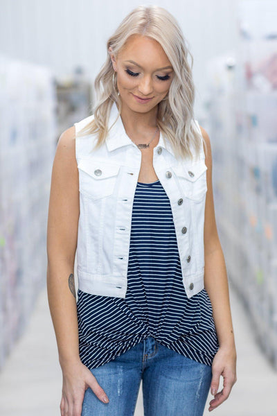 4d93a86e9368a0 When The Stars Align Sleeveless Denim Vest in White - Filly Flair