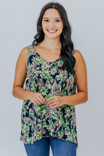 Never Fall Behind Navy Floral Tank - Filly Flair