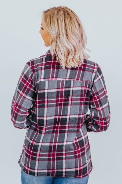 Never Have To Be Cold Again Plaid Long Sleeve Top in Grey and Red - Filly Flair