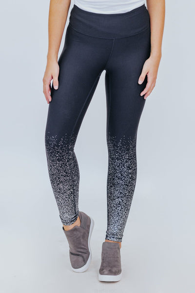 Foiled Again Metallic Raindrop Leggings in Black/Silver - Filly Flair