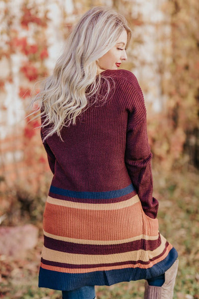 A Cup of Cider Long Sleeve Strip Cardigan in Deep Maroon - Filly Flair