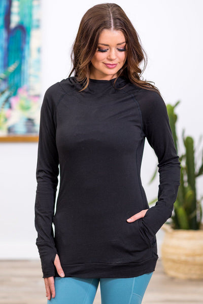 Finding The Time Long Lightweight Hooded Pocket Top in Black - Filly Flair