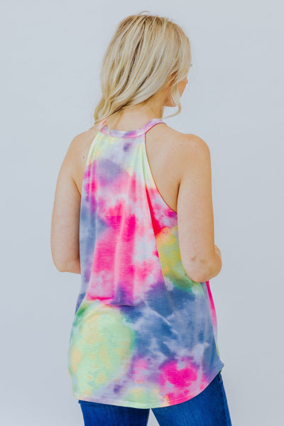 Honey Sweet Tie Dye Tank Top in Neon Pink/Grey - Filly Flair