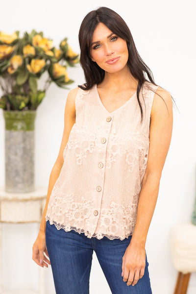 You Need Me Floral Lace Tank In Taupe - Filly Flair