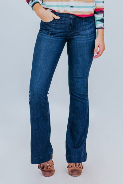 Joseph Judy Blue Fitted Trouser Dark Wash Flare Jeans - Filly Flair