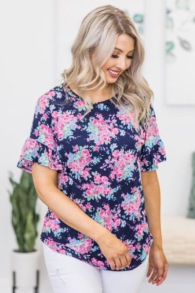 Making My Way Floral Ruffle Detail Short Sleeve Top in Navy - Filly Flair