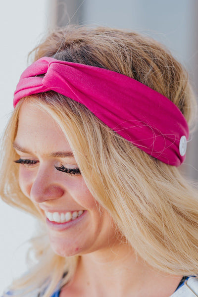 Little Helper Headband Set in Blue Floral/Hot Pink - Filly Flair