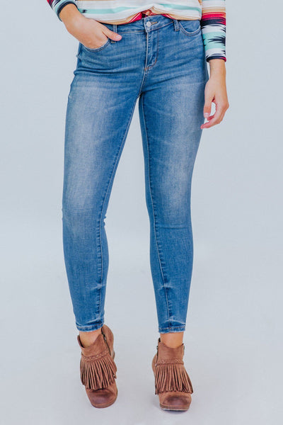 Jovi Judy Blue Mid Rise Skinny Fit Medium Wash Jeans - Filly Flair