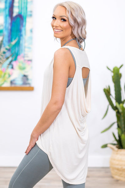 Finally Free Draped Back Tank in Blush - Filly Flair
