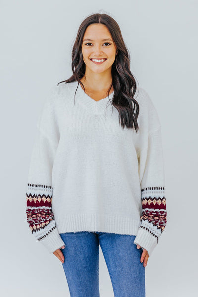 Lessons I Have Learned V-Neck Aztec Detail Long Sleeve Sweater in Ivory - Filly Flair