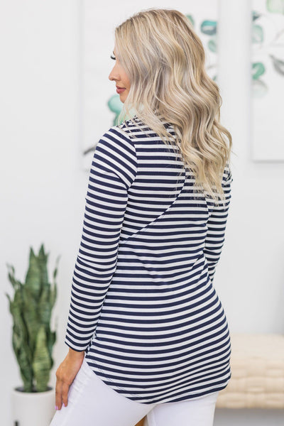 Saturday Goals Striped Jacket in Navy - Filly Flair