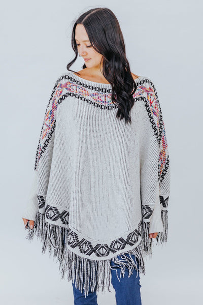 Just Like Fire Tribal Chenille Poncho Sweater in Beige - Filly Flair