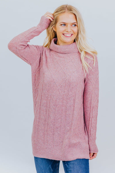 Wait a Minute Sweater in Mauve - Filly Flair