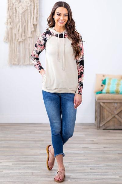 Live Like This Floral on Black Long Sleeve Double Hoodie in Cream - Filly Flair