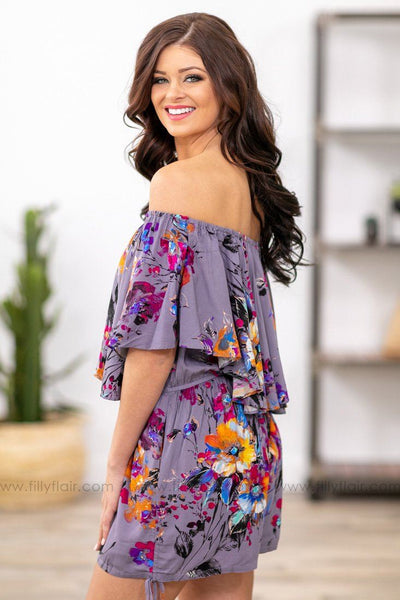 Trust Your Heart Floral Off The Shoulder Romper in Purple - Filly Flair