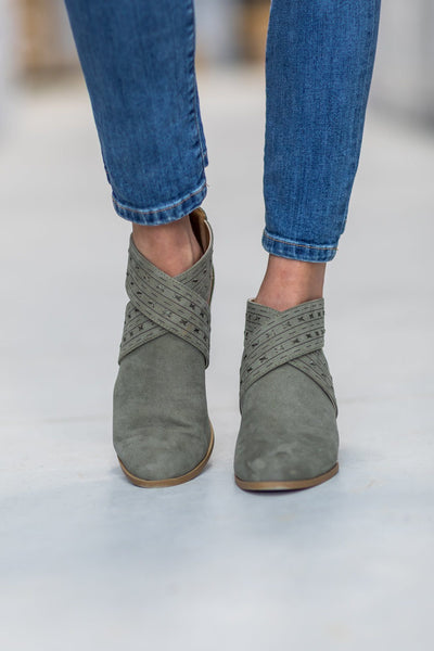 Topanga Criss Cross Cut Out Suede Bootie in Sage - Filly Flair