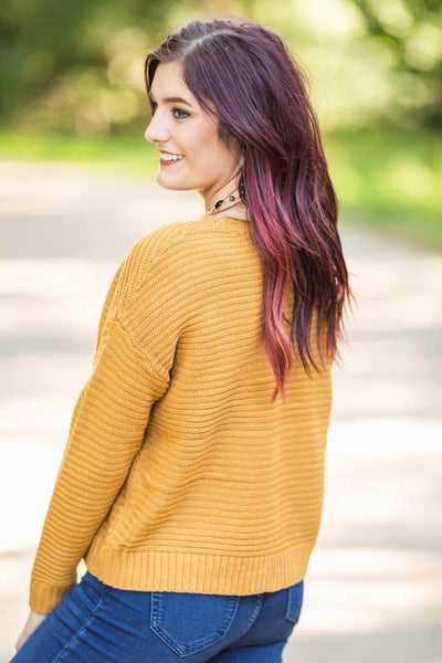 Let's Keep It Simple Knit Long Sleeve Crop Sweater in Gold - Filly Flair