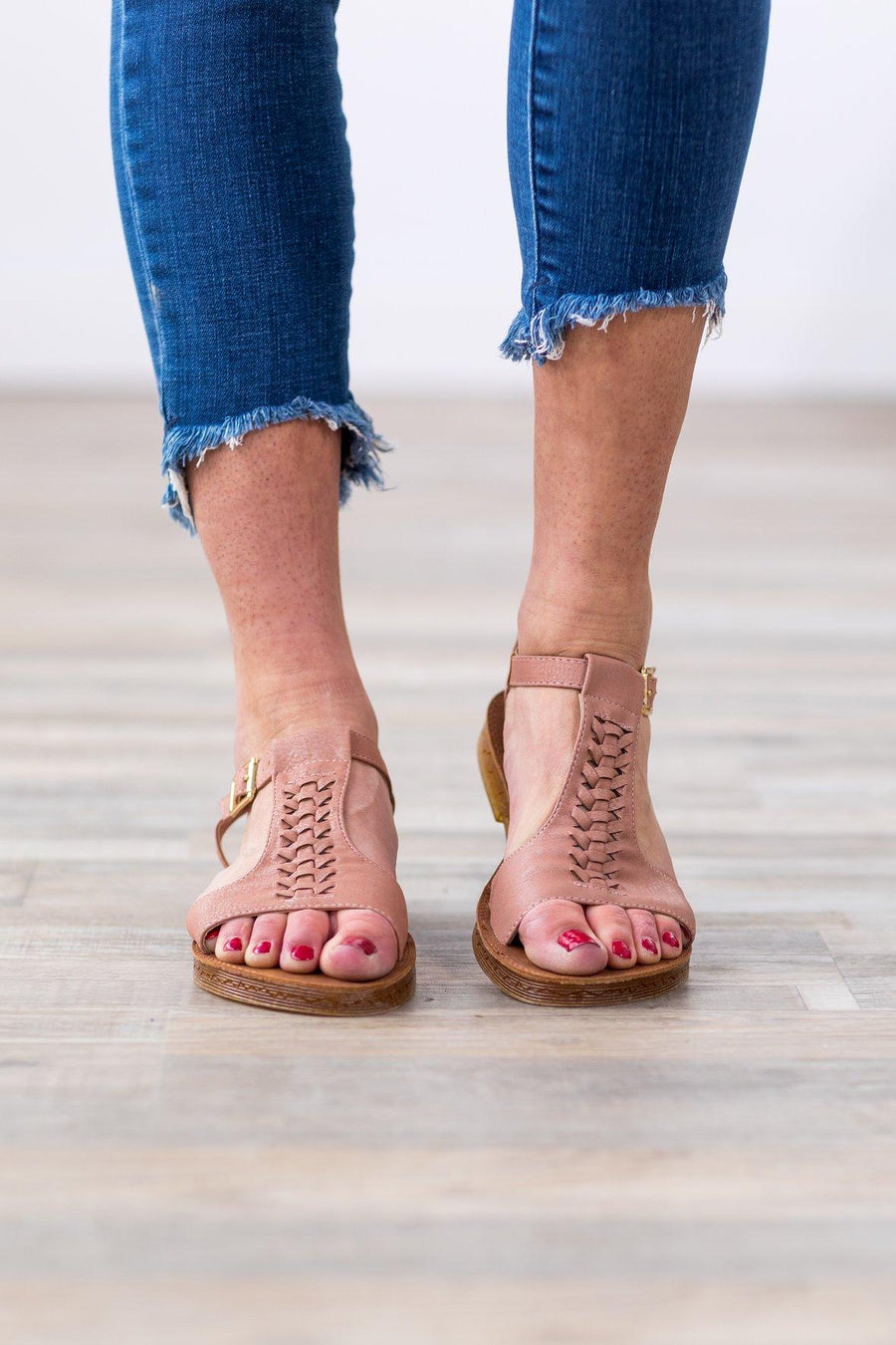 da3fa3cd23876a Report Back To Me Braided Sandal in Dusty Pink
