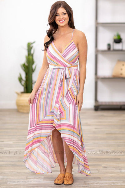 Dreaming of Spring Striped High Low Dress - Filly Flair