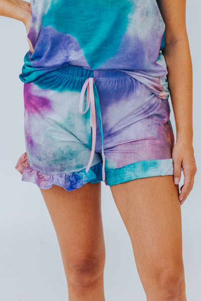 What About Us Tie Dye Lounge Wear Shorts in Multi - Filly Flair