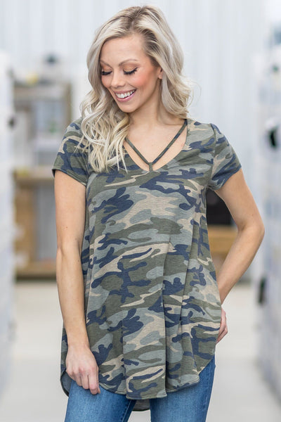 I'd Be Lying Short Sleeve Criss Cross Camo Top - Filly Flair