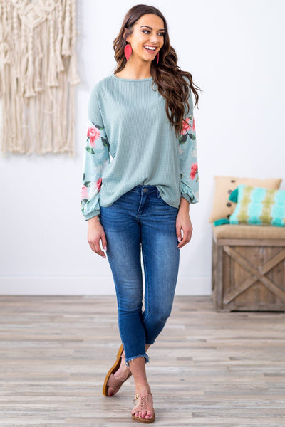 Everything I Hold Dear Long Floral Bishop Sleeve Waffle Top in Sage - Filly Flair