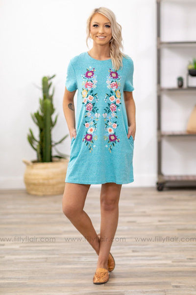 Soul Revival Short Sleeve Floral Embroidered Dress in Ocean Blue - Filly Flair
