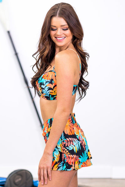 SWIM: Sunset Cruise Floral Twist Top in Blue Orange Black - Filly Flair