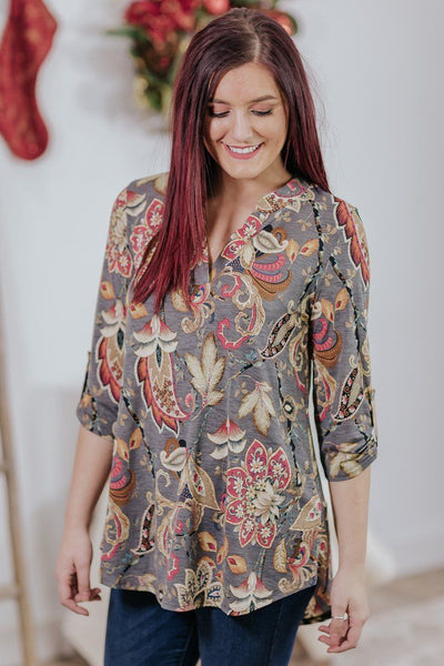 Make It Tradition Paisley High Low 3/4 Sleeve Blouse in Grey - Filly Flair