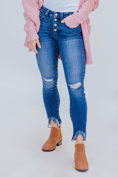 Kamryn KanCan Medium Wash High Rise Button Down Ankle Jeans - Filly Flair