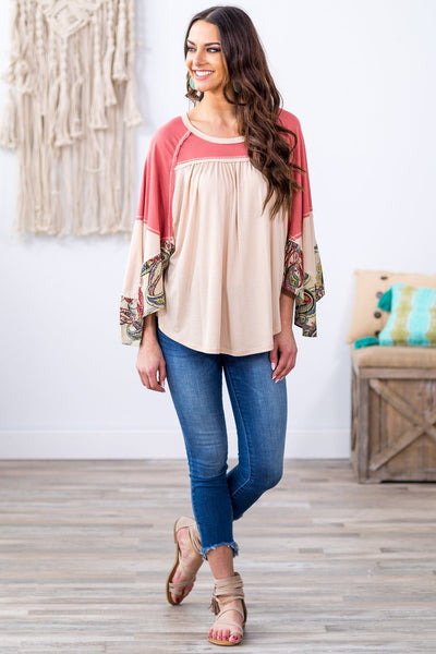 Now and Again Long Paisley Bishop Sleeve Color Block Top in Cream Mauve - Filly Flair
