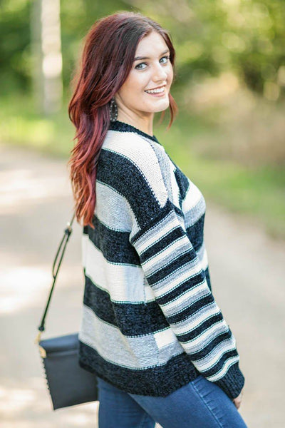 Straight To My Face Striped Knit Long Sleeve Soft Sweater in Black White Grey - Filly Flair