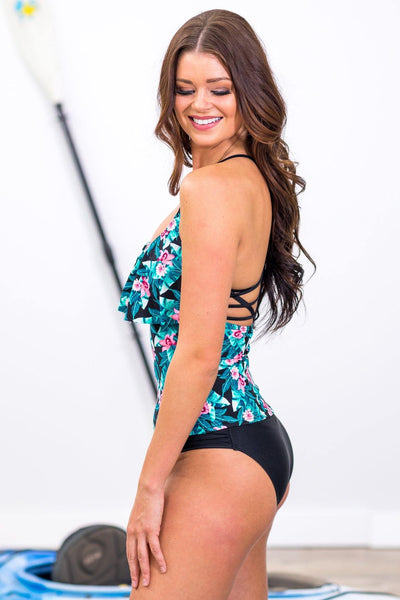 SWIM: See Your Soul Floral Tankini Two Piece Suit in Teal Black - Filly Flair