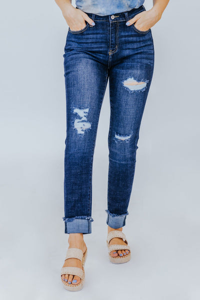 Katy KanCan High Rise Distressed Skinny Dark Wash Jeans - Filly Flair