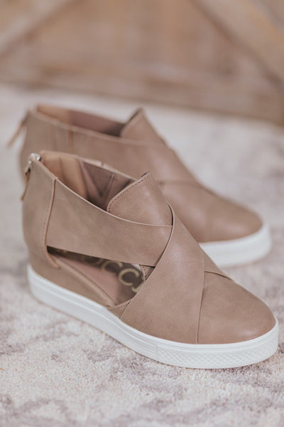 Crossing Paths Wedge Sneaker in Taupe - Filly Flair