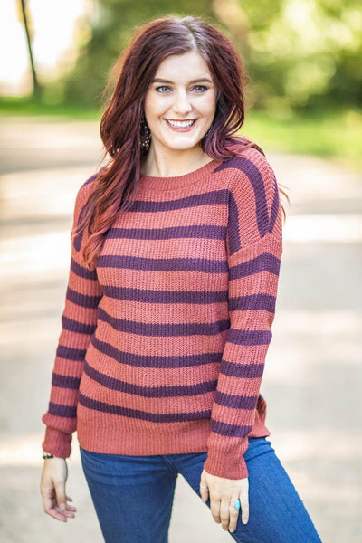 Dirty Road Cruise Striped Long Sleeve Sweater in Brick - Filly Flair