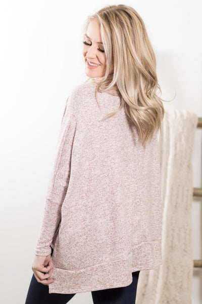 Smile That Heals Cowl Neck Poncho Sweater In Heathered Burgundy - Filly Flair